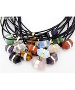 Natural Gemstones Hexagonal Prism Pointed Reiki Chakra Pendant Leather N... - $3.05