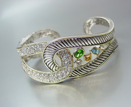 FAB Designer Style Silver Cable Pave Multi CZ Crystals LOOP Hinged Cuff ... - €35,67 EUR