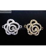 10Pcs Side Ways Crystal Rhinestones Flower Rose Bracelet Connector Charm... - $7.90