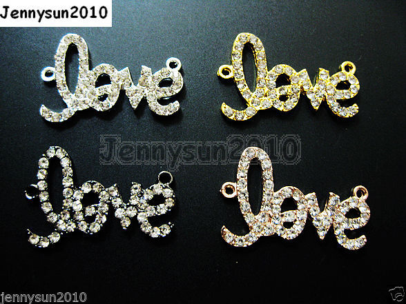 Primary image for 10Pcs Side Ways Crystal Rhinestones Love Bracelet Connector Charm Beads Pick