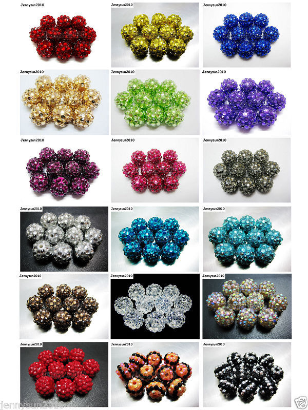 Primary image for New Release 40pcs Resin Rhinestones Round Ball Spacer Beads Pick Colors and size