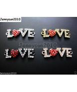 10pcs Side Ways Crystal Rhinestone Red Heart Love Bracelet Connector Cha... - $7.00