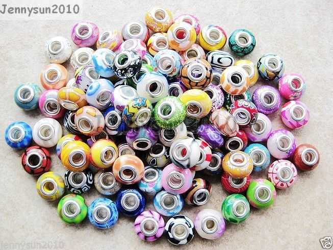 Primary image for 20Pcs Colorful Polymer Clay Big Hole Charm Beads Fit European Bracelet Necklace