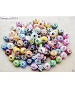 20Pcs Colorful Polymer Clay Big Hole Charm Beads Fit European Bracelet N... - $6.00