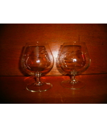 Antique Brandy Glasses with Etched Floral Design , France - $15.00