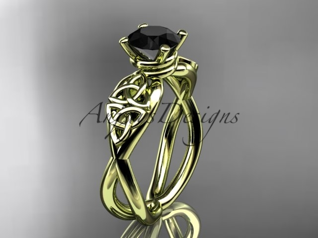 Primary image for Black diamond engagement ring, Celtic bridal ring, Unique bridal ring, 14kt yell