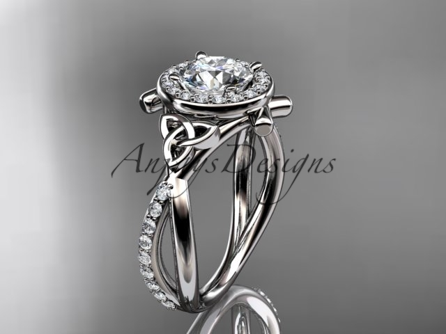 Primary image for 14kt white gold celtic trinity knot engagement ring,  Moissanite  CT789