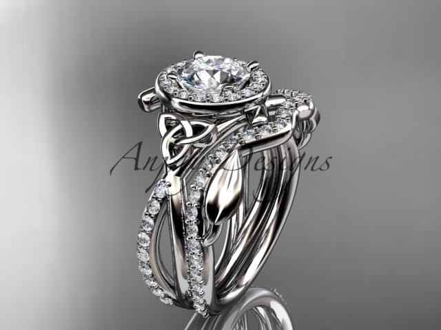 Primary image for Unique engagement ring set,14kt white gold celtic trinity knot engagement set, w