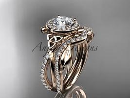 unique engagement ring set, 14k rose gold celtic trinity knot engagemen... - $2,485.00