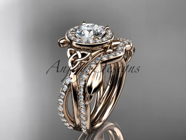 Primary image for  unique engagement ring set, 14k rose gold celtic trinity knot engagement set, M