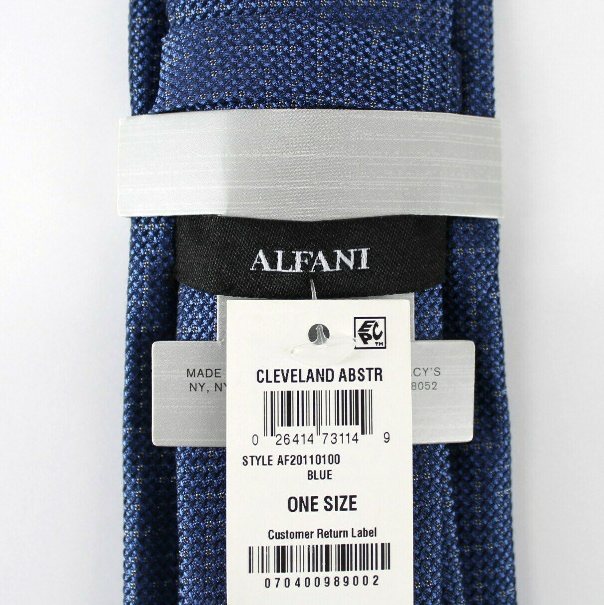 Alfani Neck Tie Blue Cleveland Abstract 100% Silk Slim Skinny Mens New image 3