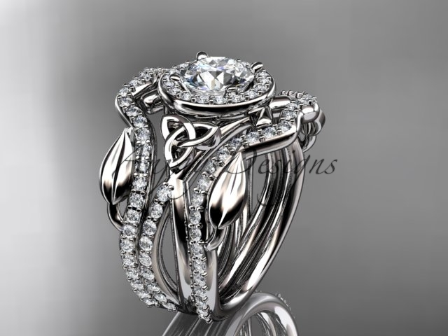 Primary image for Celtic wedding ring set, 14kt white gold celtic trinity knot engagement ring, do