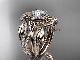 Unique wedding ring set, 14kt rose gold celtic trinity knot engagement ring, dou - $3,095.00