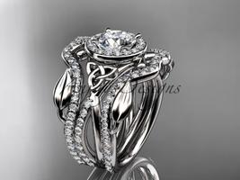 Double band wedding ring set, 14kt white gold celtic trinity knot engage... - $3,345.00