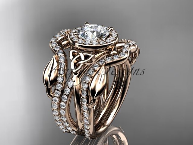Primary image for Double band wedding ring set, 14kt rose gold celtic trinity knot engagement ring