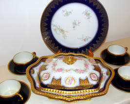 Blue and Gold Limoges Display Collector Pieces. - $425.00