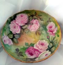 Porcelain T&V Limoges Punch Bowl  Gorgeous Pink and Yellow Rose Pedestal Bowl - $1,850.00