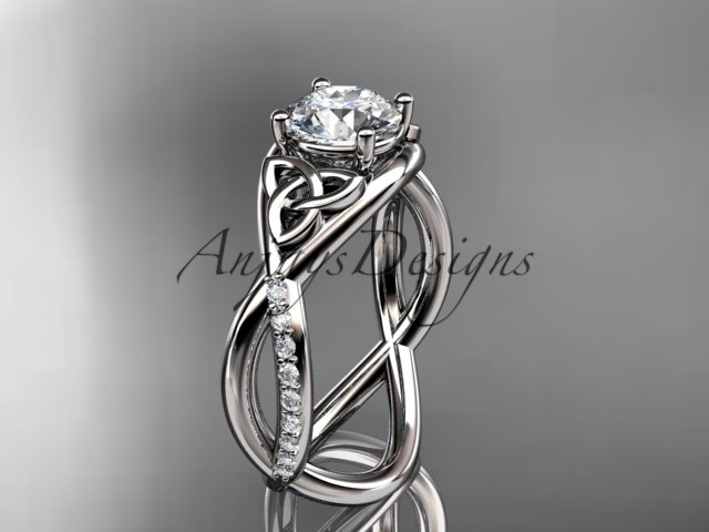 Primary image for 14kt white gold celtic trinity knot engagement ring, wedding ring CT790