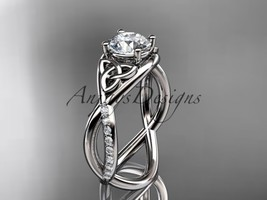 14kt white gold celtic trinity knot engagement ring, wedding ring CT790 - $1,275.00