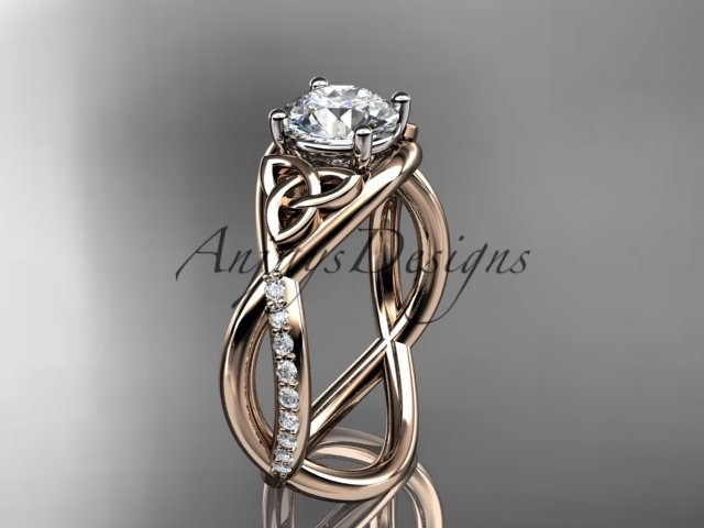 Primary image for Unique engagement ring set,14kt rose gold celtic trinity knot engagement ring, w