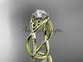 Unique engagement ring set,14kt yellow gold celtic trinity knot engageme... - $1,275.00