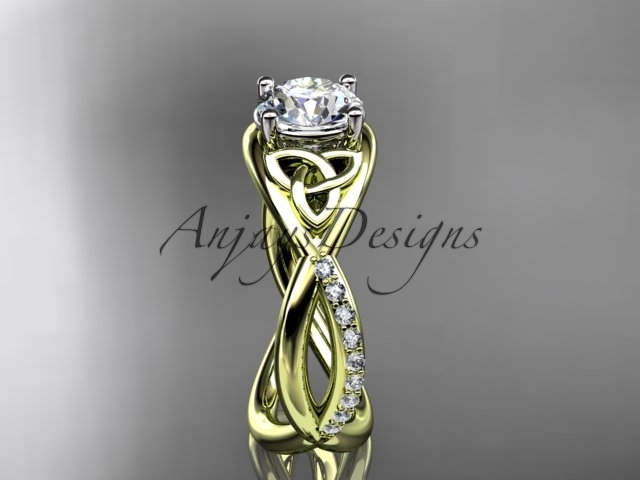 Unique engagement ring set,14kt yellow gold celtic trinity knot engagement ring,