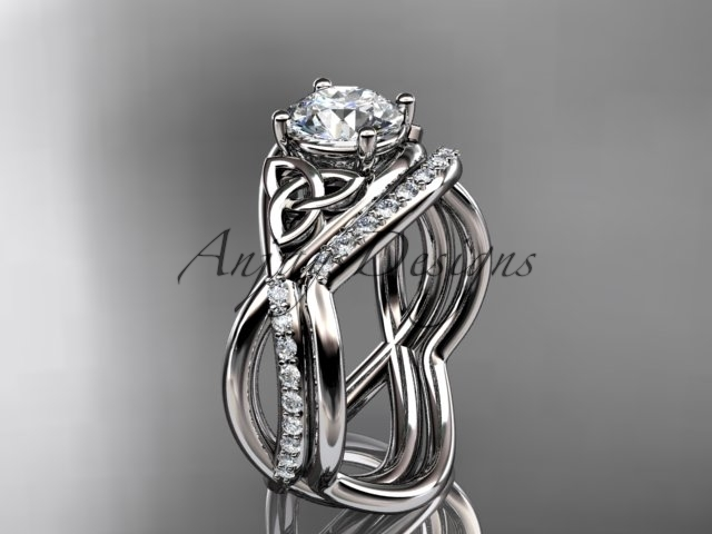 Primary image for Unique engagement ring set,14kt white gold celtic trinity knot engagement set, M