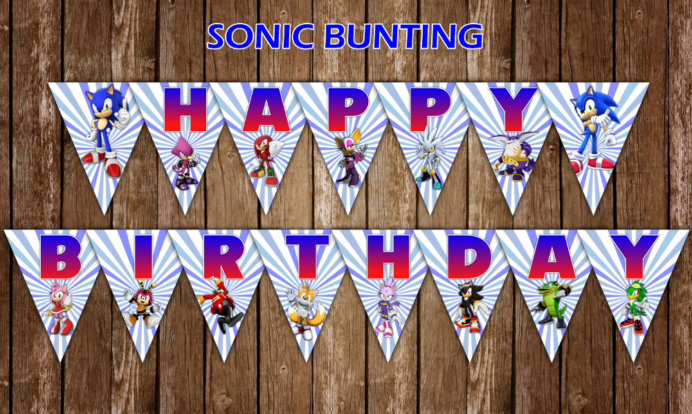 Sonic The Hedgehog Happy Birthday Banner And 11 Similar Items