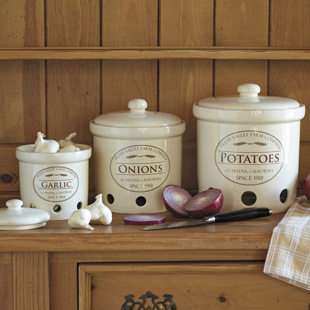 Garlic Onion Potato Crock Canisters Jar Fresh Storage