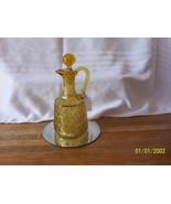 Vintage Amber Pressed Diamond Pattern Cruet - $49.50