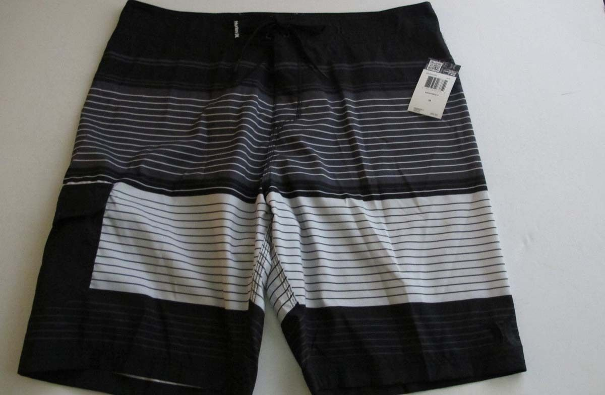 Primary image for Hurley Highway Men's Black White Gray Striped Board Beach Surf Shorts 28