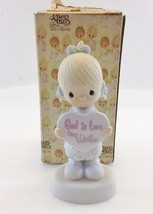 Precious Moments E-7154 God is Love Dear Valentine Girl Holding Heart 19... - $28.37