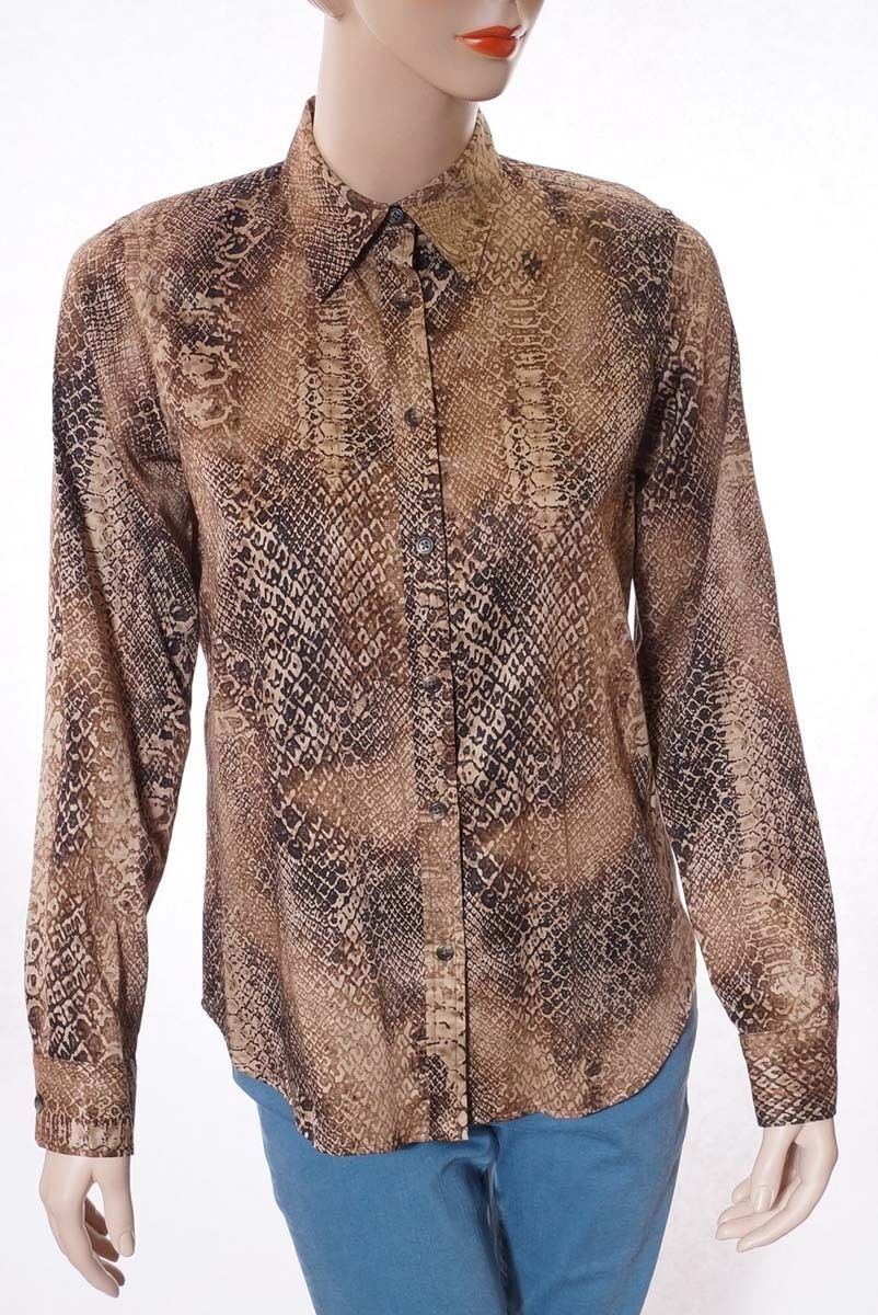 Primary image for Lauren Ralph Lauren Womens Brown Snake Print Button Down Shirt Top Blouse M