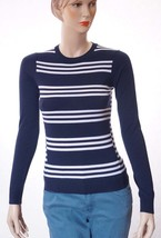 Theory Tommie FS Womens Blue White Wool Striped Pullover Sweater Top Pet... - $79.99