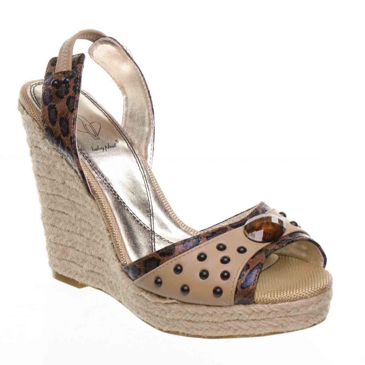Primary image for Baby Phat Addison Womens Tan High Heels Platform Sandal Wedge Shoes BD112371-7.5