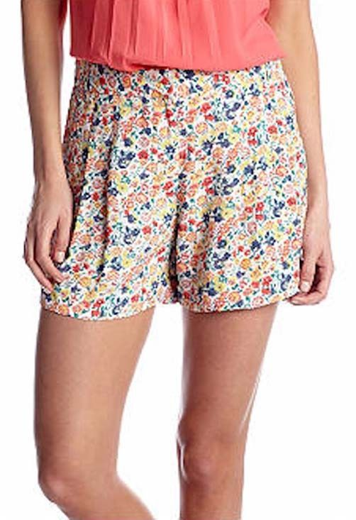 Primary image for French Connection 792D1 Womens Pink Floral Marilyn Draped Mini Tie Shorts 10