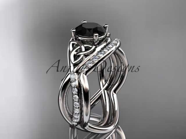 Primary image for Platinum celtic trinity knot engagement set,  Black Diamond  CT790S