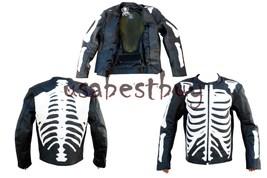 Custom Handmade Men Motorcycle Leather Jacket, Biker Leather Jacket, Bone Style - $149.99