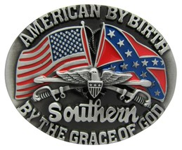 New American By Birth Southern By The Grace Of God Belt Buckle - $12.99