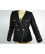 Balmain Runway Blazer Top Jacket Black Wool Double Breasted Gold Trim Sz 36 - $1,794.49
