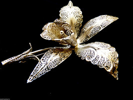 VTG large silver tone metal filigree Orchard Flower Pin Brooch - $84.15