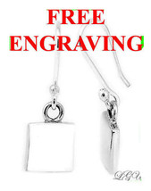 Sterling Silver Square Dangle Earrings Free Engrave - $32.68