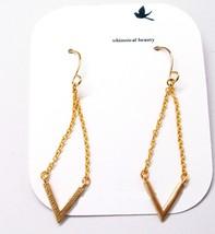 Arrowhead 14K Yellow Gold Plated Chevron Dangle Earrings - $23.66