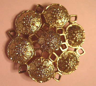 Primary image for Vintage Pin Sarah Coventry Gold Plated Medieval Medallion Style Florette Cluster