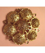 Vintage Pin Sarah Coventry Gold Plated Medieval Medallion Style Florette... - $17.77
