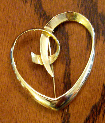 Primary image for Statement AAi Script Heart Pin - Huge Bold GOLD Plated Brooch
