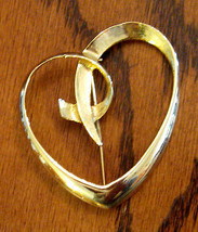 Statement AAi Script Heart Pin - Huge Bold GOLD Plated Brooch - $17.77