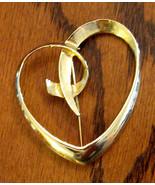 Statement AAi Script Heart Pin - Huge Bold GOLD Plated Brooch - $17.77