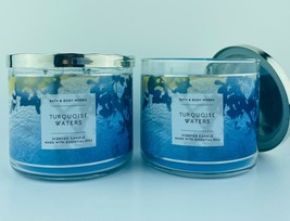 2 Bath & Body Works TURQUOISE WATERS 3 Wick Scented Candles 14.5 oz NEW ... - $37.04