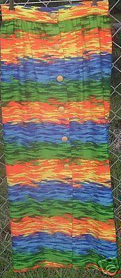 Vtg 70s HARBURT Hippie MOD neon print Maxi SKIRT 13/14 Bonanza
